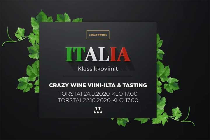 Viinitasting Crazywine viinibaarissa: Italian klassikot